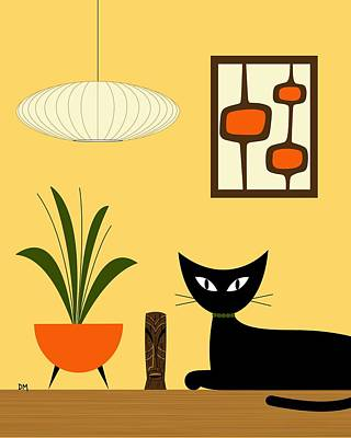 Eames Digital Art - Cat On Tabletop With Mini Mod Pods 3 by Donna Mibus