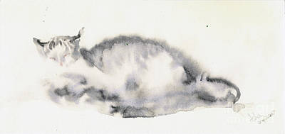 Painting - Cat On The Bed by Asha Sudhaker Shenoy