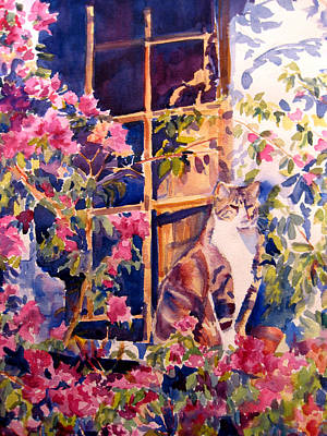 Cat On The Sill In Trapani Art Print by Joyce Kanyuk