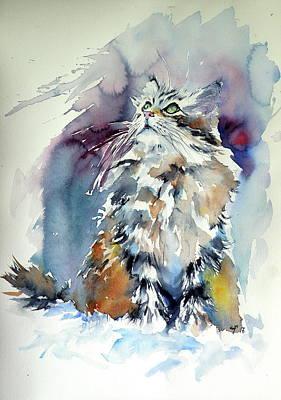 Painting - Cat On The Snow by Kovacs Anna Brigitta