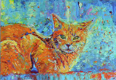 Cornish Rex Cat Painting - Cat Painting Cat Portrait Original Cat Art by Magdalena Walulik