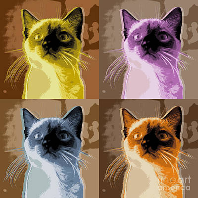 Ferrets Digital Art - Cat Pop Art by Jean luc Comperat