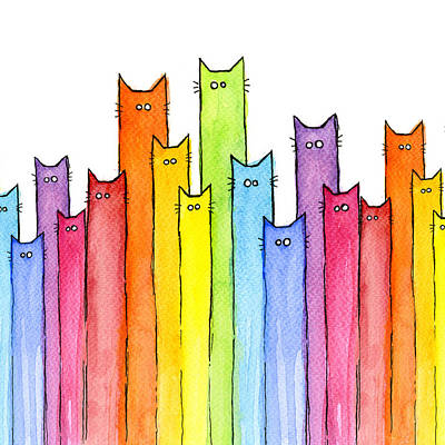 Children Art Painting - Cat Rainbow Watercolor Pattern by Olga Shvartsur