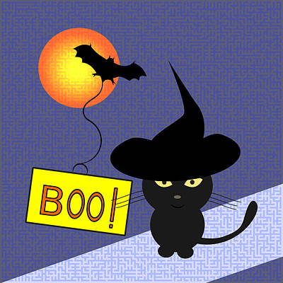 Halloween Digital Art - Cat Ready For Halloween by Coco Des
