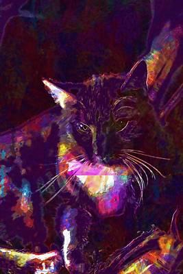 Digital Art - Cat Red Pet Snuggle  by PixBreak Art