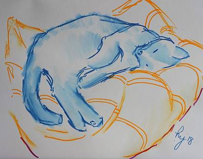 Drawing - Cat Rolled Over Lying Down Sinking Into Cushion by Mike Jory