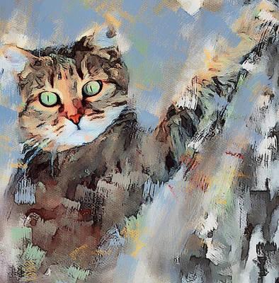 House Pet Digital Art - Cat Scratching Tree by Yury Malkov