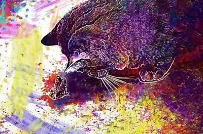 Digital Art - Cat Sepia Cute Mackerel Tiger  by PixBreak Art