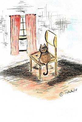 Mixed Media - Cat Sitting Comfortable by Teresa White