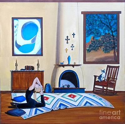Painting - Cat Sitting In Chair Watching Woman Doing Yoga by John Lyes