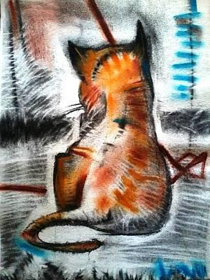 Virtual Mixed Media - Cat Sketch Drawing Orange Yellow by Makarand Joshi