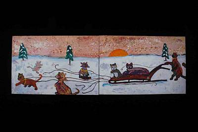 Painting - Cat Sled Team by AJ Brown