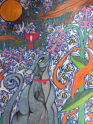 Spirit Cat Essence Drawing - Cat Smelling A Flower 3 by William Douglas