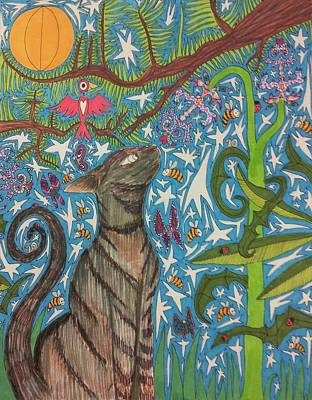 Spirit Cat Essence Drawing - Cat Smelling A Flower 6 by William Douglas