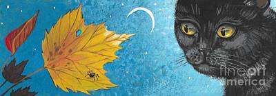 Cat Spider And The Maple Leaf Art Print