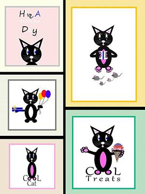 Children Ice Cream Digital Art - Cat Story by Kathleen Sartoris