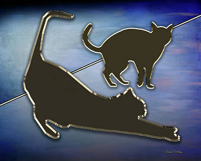 Digital Art - Cat Stretching  by Chuck Staley