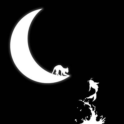 Wall Art - Digital Art - Cat The Moon And The Koi Fish by George Michael