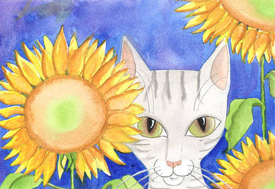 Painting - Cat Thinks I Don't See Him Hiding In The Sunflowers by JoLynn Potocki