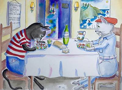 Painting - Cat Trattoria by Roxana Lehmann-Haupt
