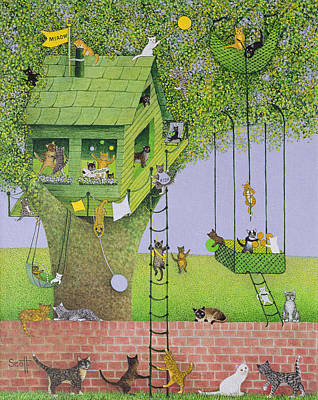 Kitty Drawing - Cat Tree House by Pat Scott