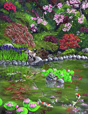 japanese cherry blossom painting cat turtle and water lilies by laura iverson