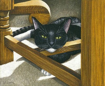 Tuxedo Cat Painting - Cat Under A Chair by Carol Wilson