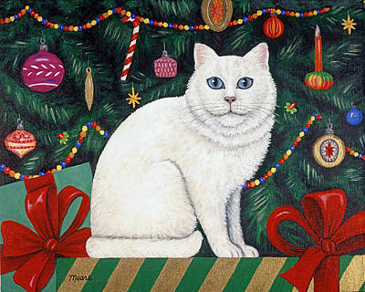Kitten Painting - Cat Under The Christmas Tree by Linda Mears