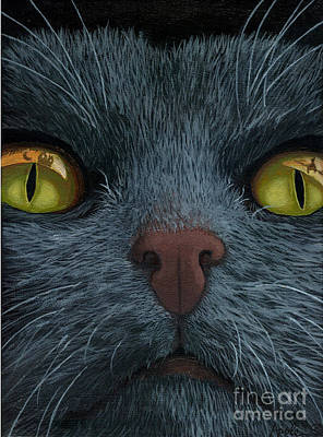 Painting - Cat Vision - Black Cat Oil Painting by Linda Apple