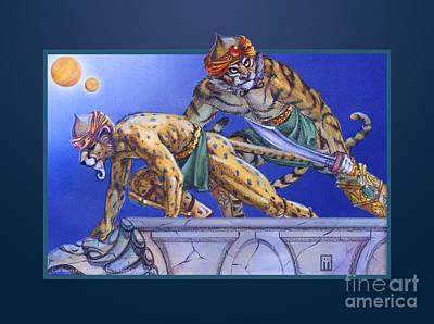 Magic The Gathering Mixed Media - Cat Warriors by Melissa A Benson