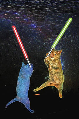 Digital Art - Cat Wars Episode Ix by John Haldane