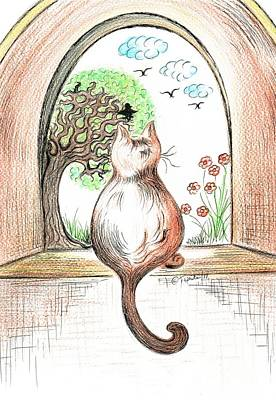 Drawing - Cat Watching The Crow Birds by Teresa White