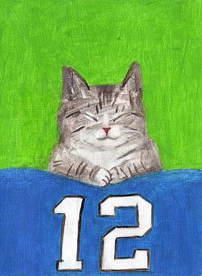 Cat With 12th Flag Art Print