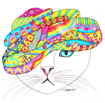 Drawing - Cat With A Fancy Turban by Terry Taylor