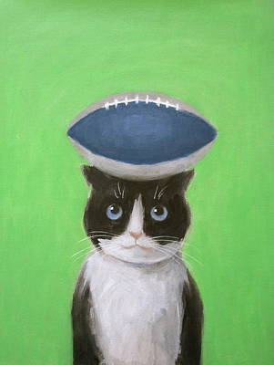 Painting - Cat With A Football by Kazumi Whitemoon