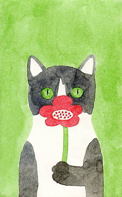 Painting - Cat With A Red Flower by Kazumi Whitemoon