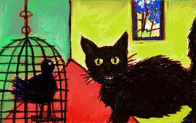 Caged Bird Digital Art - Cat With Bird  by Paul Sutcliffe
