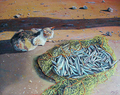 Wall Art - Painting - Cat With Fish by Ralf Glasz