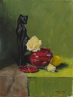 Lemon Painting - Cat With Rose by Laura Lee Zanghetti