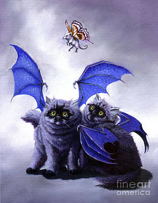 Fantasy Cats Painting - Catabat Snack by Stanley Morrison