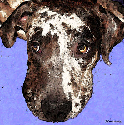 Funny Dog Painting - Catahoula Leopard Dog - Soulful Eyes by Sharon Cummings