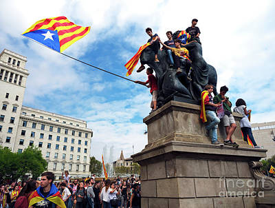 Photograph - Catalan Independence Rally Barcelona by John Rizzuto