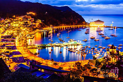 Pier Houses Photograph - Catalina Island Avalon Bay At Night by Paul Velgos