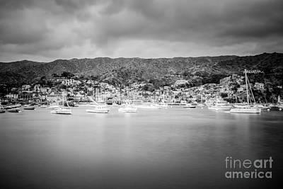 Catalina Island Avalon Bay Black And White Photo Art Print by Paul Velgos