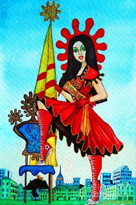 Art Print featuring the painting Catalan Girl In Converse by Don Pedro De Gracia