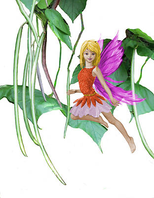 Catalpa Tree Fairy Among The Seed Pods Art Print