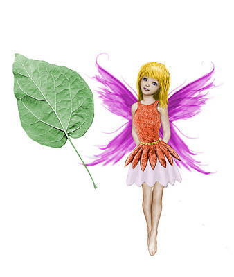 Digital Art - Catalpa Tree Fairy And Leaf by Yuichi Tanabe