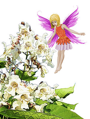 Digital Art - Catalpa Tree Fairy Beside Flowers by Yuichi Tanabe