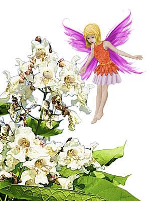 Digital Art - Catalpa Tree Fairy Beside Flowers by Yuichi Tanabe