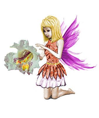Digital Art - Catalpa Tree Fairy Holding Flower by Yuichi Tanabe
